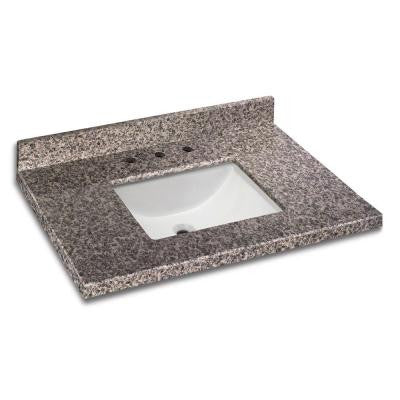 37 in. W x 22 in. D Granite Vanity Top in Sircolo with White Single Trough Basin