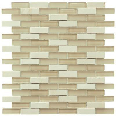 Tessera Subway Sandstone 11-3/4 in. x 11-3/4 in. x 8 mm Glass Mosaic Wall Tile