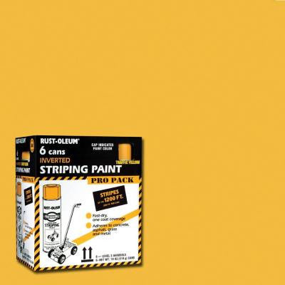 18 oz. Flat Yellow Striping Spray Paint (6-Pack)