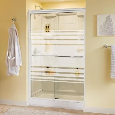 Simplicity 47-3/8 in. x 70 in. Sliding Shower Door in White with Chrome Hardware and Semi-Framed Transition Glass