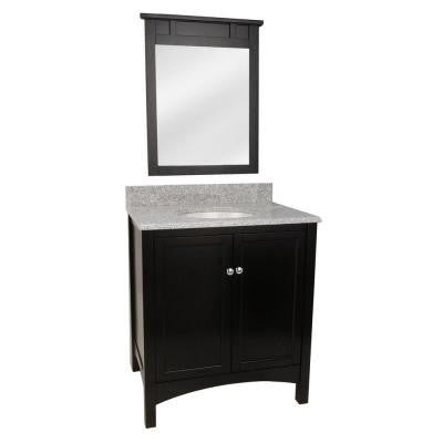 Haven 31 in. Vanity in Espresso with Granite Vanity Top in Napoli and Mirror in Espresso