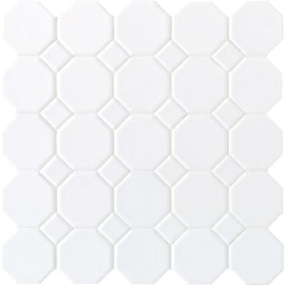 Matte White 12 in. x 12 in. x 6 mm Ceramic Octagon Dot Mosaic Wall Tile (10 sq. ft. / case)