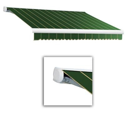 20 ft. Key West Full-Cassette Right Motor Retractable Awning with Remote (120 in. Projection) in Forest Pin