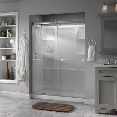 Mandara 60 in. x 71 in. Semi-Framed Contemporary Style Sliding Shower Door in Chrome with Clear Glass