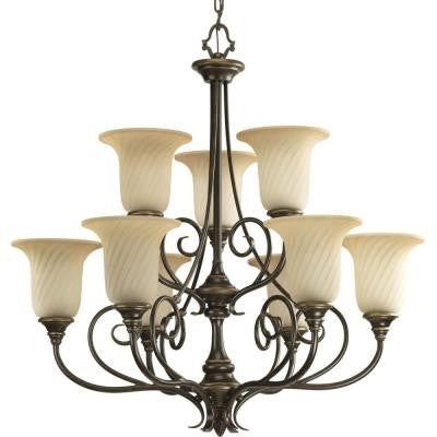 Kensington Collection 9-Light Forged Bronze Chandelier