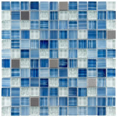 Tessera Square Alpine 11-3/4 in. x 11-3/4 in. x 8 mm Glass and Metal Mosaic Wall Tile