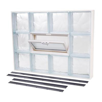 27.625 in. x 23.875 in. NailUp2 Vented Wave Pattern Glass Block Window