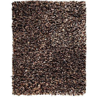 Confetti Brown and White 8 ft. x 10 ft. Shag Area Rug