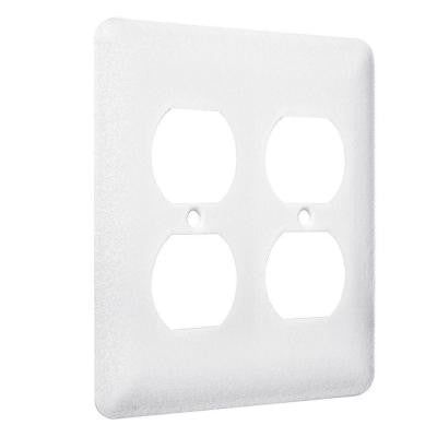 2 Gang 2 Duplex Princess Metal Wall Plate - White Textured