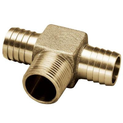 1 in. x 3/4 in. x 1 in. Brass Yard Hydrant Tee