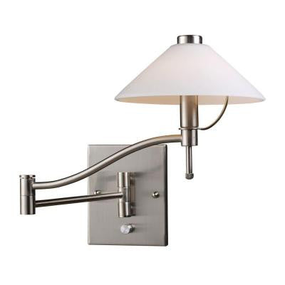 1-Light Satin Nickel Swing Arm Wall-Mount