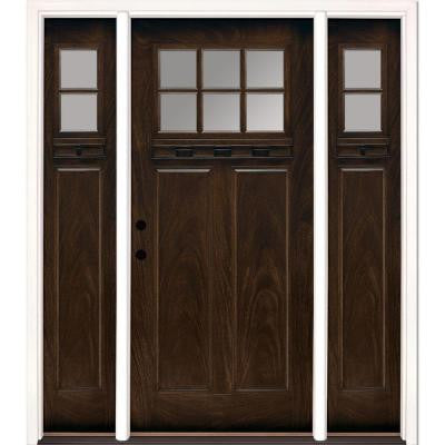 67.5 in. x 81.625 in. 6 Lite Clear Craftsman Stained Chestnut Mahogany Fiberglass Prehung Front Door with Sidelites