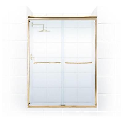 Paragon 3/8 Series 60 in. x 66 in. Semi-Framed Sliding Shower Door with Radius Curved Towel Bar in Gold and Clear Glass