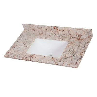 37 in. Stone Effects Vanity Top in Rustic Gold with White Basin