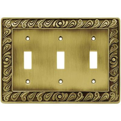 Paisley 3 Gang Toggle Switch Wall Plate - Tumbled Antique Brass