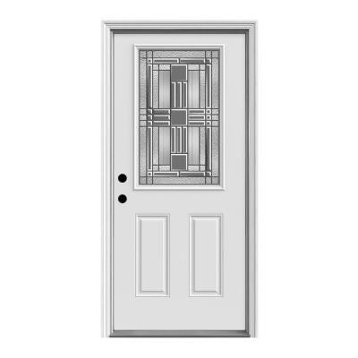36 in. x 80 in. Cordova 1/2 Lite Primed Premium Steel Prehung Front Door with Brickmould