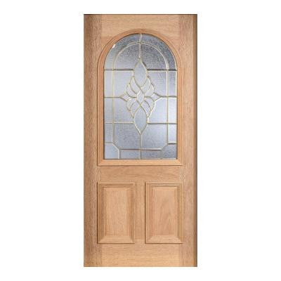 36 in. x 80 in. Mahogany Type Unfinished Beveled Brass Roundtop Glass Solid Wood Front Door Slab