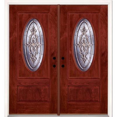 74 in. x 81.625 in. Silverdale Zinc 3/4 Oval Lite Stained Cherry Mahogany Fiberglass Double Prehung Front Door
