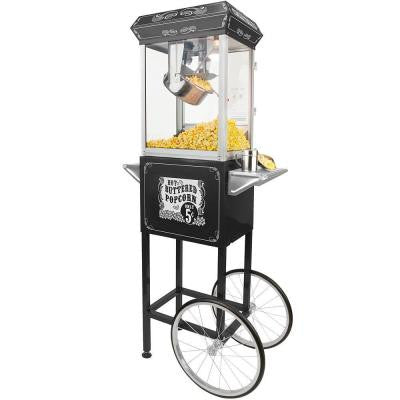 4 oz. Hot Oil Popcorn Popper Machine with Cart in Black and Silver
