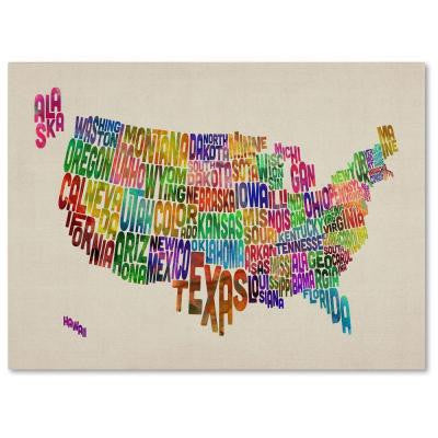 22 in. x 32 in. USA States Text Map Canvas Art