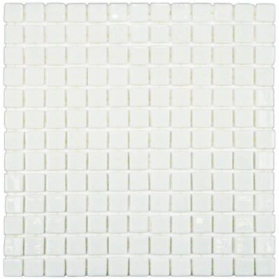 Ruidera Square Blanco 13 in. x 13 in. x 5 mm Glass Mosaic Wall Tile