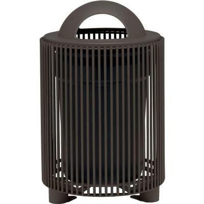 Grand Isle 32 Gal. Textured Bronze Contract Trash Can with Liner and Dome Top