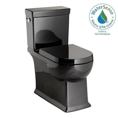 2-piece 1.28 GPF Round Toilet in Black
