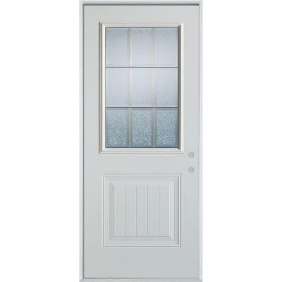 36 in. x 80 in. Geometric Clear and Brass 1/2 Lite 1-Panel Prefinished White Left-Hand Inswing Steel Prehung Front Door