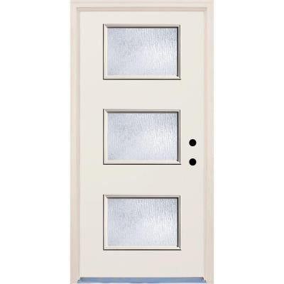 36 in. x 80 in. 3 Lite Rain Glass Raw Prefinished Fiberglass Raw Prehung Front Door with Brickmould