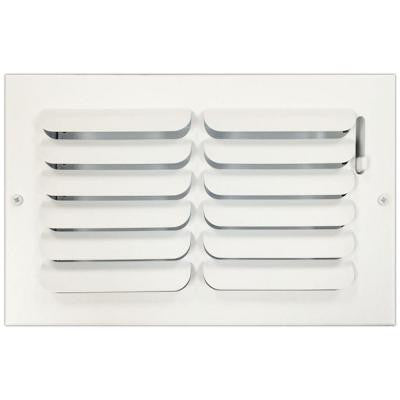 6 in. x 10 in. Ceiling or Wall Register with Curved Single Deflection, White
