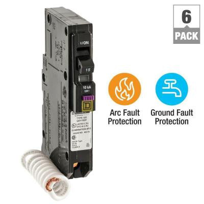 QO 15 Amp Single-Pole Dual Function (CAFCI and GFCI) Circuit Breaker (6-Pack)