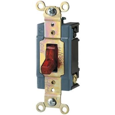 15 Amp 120/277-Volt Industrial Grade Toggle Switch with Pilot Light - Red