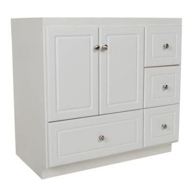 Ultraline 36 in. W x 21 in. D x 34.5 in. H Vanity with Right Drawers Cabinet Only in Satin White