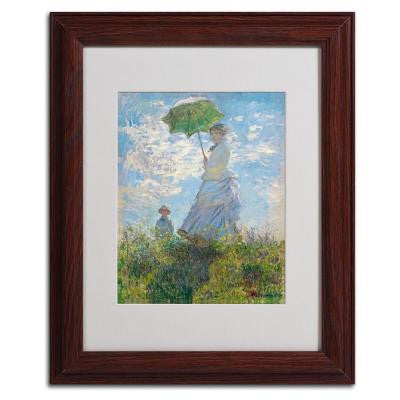 11 in. x 14 in. Woman with a Parasol 1875 Matted Brown Framed Wall Art