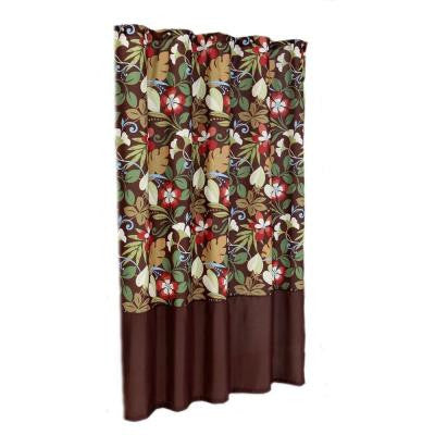 Fun Floral 72 in. Shower Curtain in Chocolate