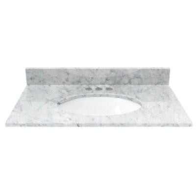 31 in. Marble Vanity Top in White Carrara with White Basin