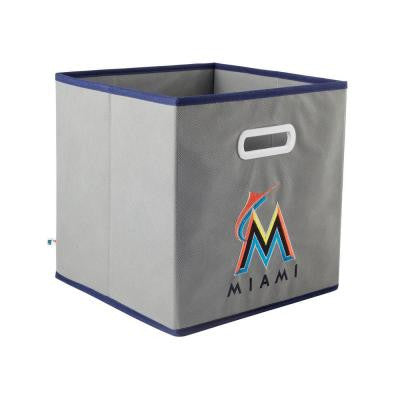 MLB STOREITS Miami Marlins 10-1/2 in. x 10-1/2 in. x 11 in. Grey Fabric Storage Drawer
