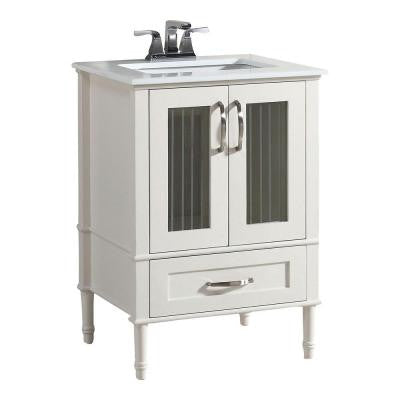 Kendra 24 in. W Vanity in White with Quartz Marble Vanity Top in White