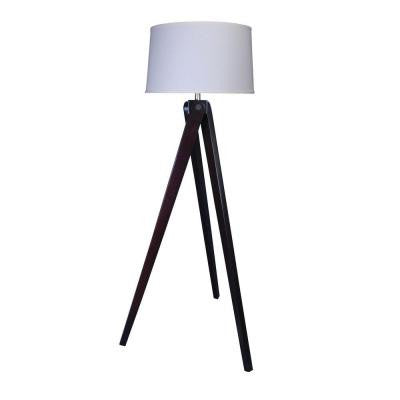 60 in. Espresso Wood Tripod Floor Lamp