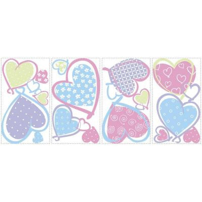 5 in. x 11.5 in. Hearts Peel and Stick Wall Decal