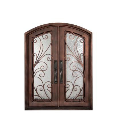 74 in. x 110 in. Flusso Classic Full Lite Painted Bronze Decorative Wrought Iron Prehung Front Door