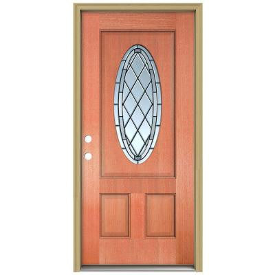 36 in. x 80 in. Firethorne 3/4 Oval Lite Unfinished Mahogany Wood Prehung Front Door with Brickmould and Patina Caming