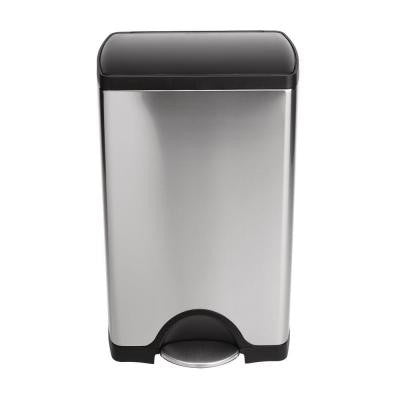 38-Liter Rectangular Brushed Stainless Steel Step Trash Can with Black Plastic Lid