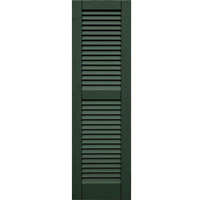 Wood Composite 15 in. x 51 in. Louvered Shutters Pair #656 Rookwood Dark Green