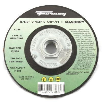 4-1/2 in. x 1/4 in. x 5/8 in.-11 Threaded Masonry Type 27 C24S-BF Grinding Wheel