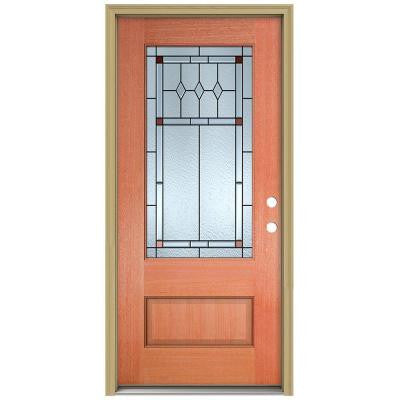 36 in. x 96 in. Ashmore 3/4 Lite Unfinished Mahogany Wood Prehung Front Door with Brickmould and Patina Caming