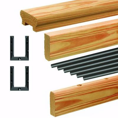 6 ft. Western Red Cedar Railing Kit with Black Aluminum Balusters