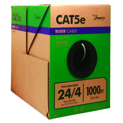 1000 ft. 24-Gauge CAT5e Cable - Gray (4-Pair)