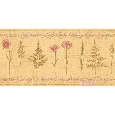 10.25 in. x 15 ft. Orange Earth Tone Herbs and Wheat Border