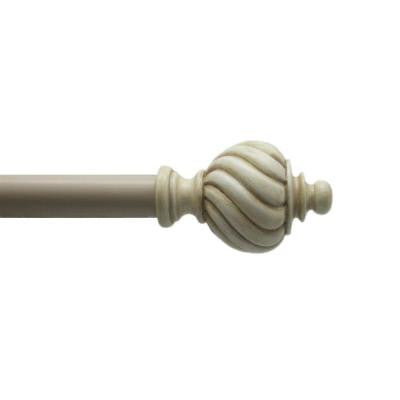 72 in. - 144 in. 1 in. Turned Swirl Rod Set in Antique Cream